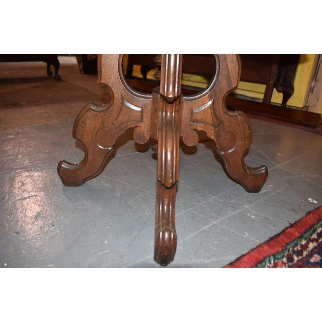 Oval Marble Top Eastlake Style Coffee Table For Sale - Image 6 of 8