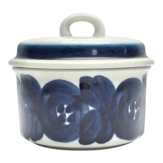 Vintage 1960s Arabia Finland Blue Anemone Sugar Bowl With Lid For Sale
