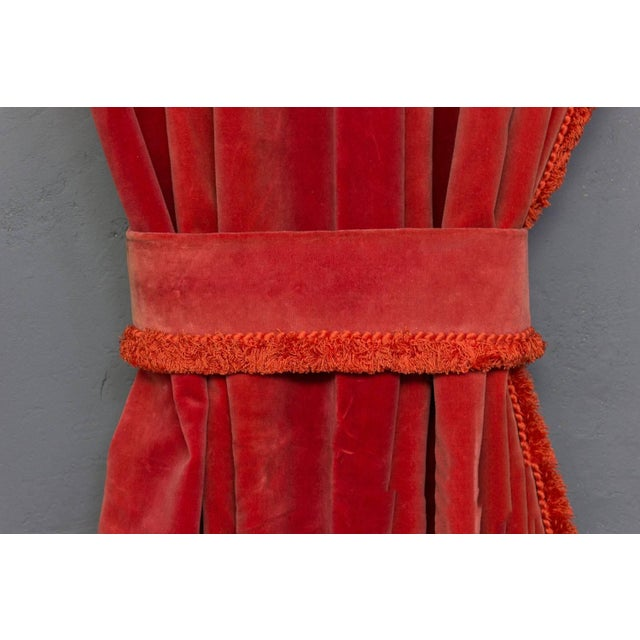 Two Pairs of Paprika Color Velvet Drapes For Sale - Image 10 of 11