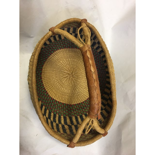 Oval Hand Woven Natural Grass Basket - Image 8 of 8