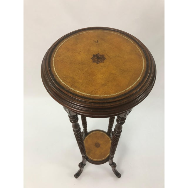 Maitland - Smith Maitland Smith Mahogany and Leather Top Stand For Sale - Image 4 of 9