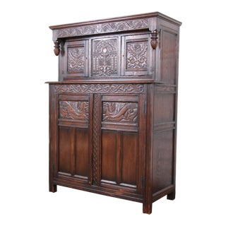 Antique Carved Oak Bar Cabinet by Kensington of New York, Circa 1920s For Sale