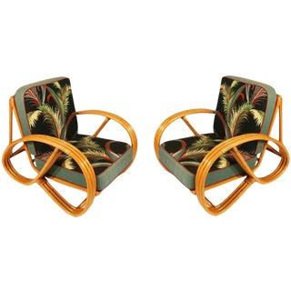 Round Pretzel Arm Rattan Chair Set For Sale