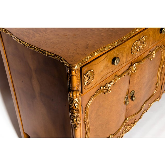 Metal 20th Century Burlwood Sideboard with Gold Design Details For Sale - Image 7 of 12