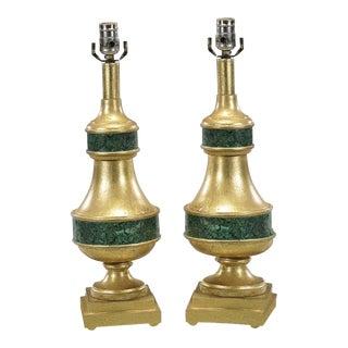 Pair of Designer Gilt-Wood & Faux Malachite Lamps