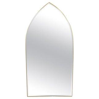 Italian Gothic Arch Brass Wall Mirror Hollywood Regency For Sale