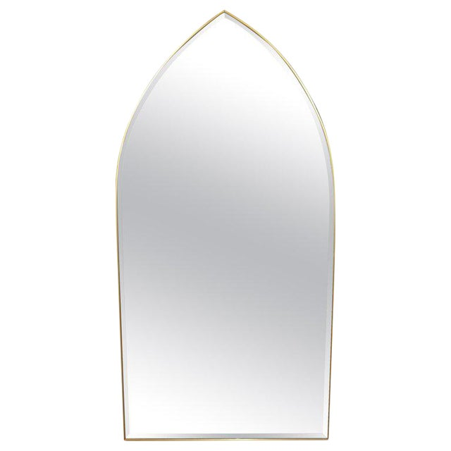 Italian Gothic Arch Brass Wall Mirror Hollywood Regency For Sale