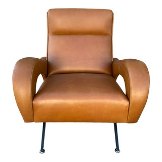 """Hand Crafted """"Zanuso"""" Style Leather Lounge Chair For Sale"""