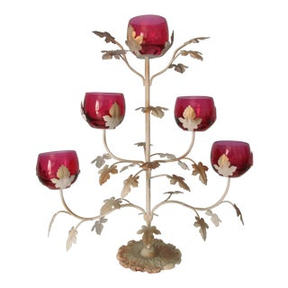 Mid-Century Modern Candelabra With Rose Colored Glass For Sale