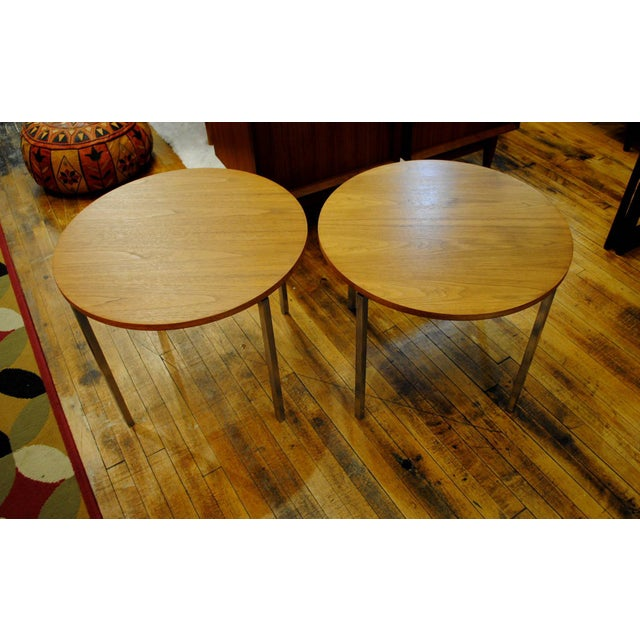 Mid-Century Modern 1960s Florence Knoll Mid-Century Round Side Tables - A Pair For Sale - Image 3 of 9