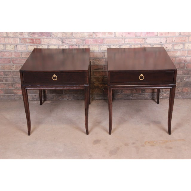 Drexel Heritage Drexel Heritage Hollywood Regency Mahogany Nightstands or End Tables, Newly Refinished For Sale - Image 4 of 13