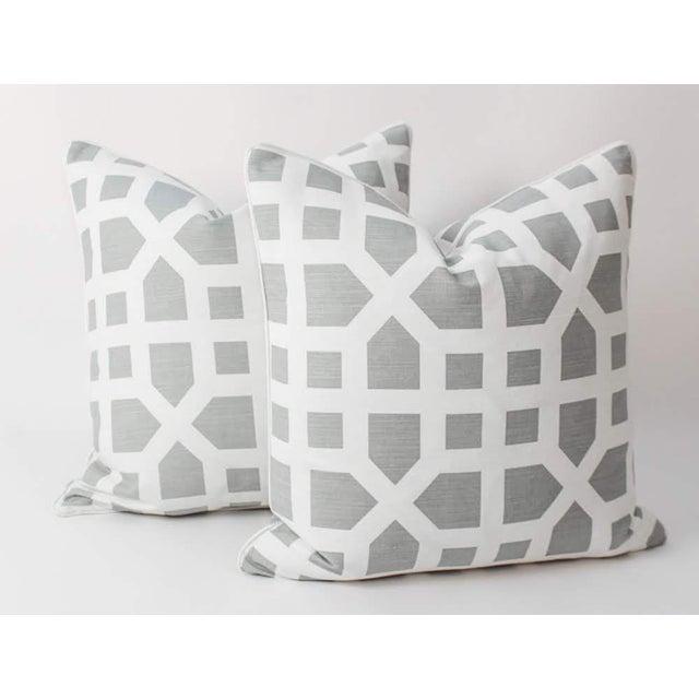 2020s Linen Avignon Trellis Custom Pillows, a Pair For Sale - Image 5 of 5