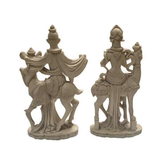 Mid Century Chinoiserie God & Goddess on Deer Statue Set - a Pair For Sale - Image 4 of 13