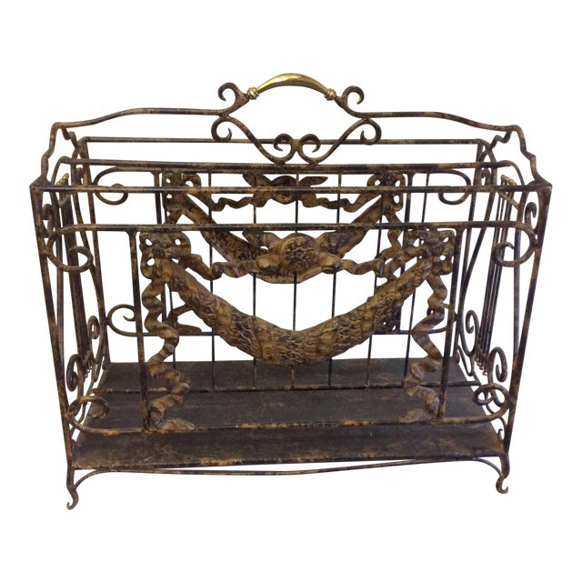 Ornate Lyre Iron Magazine Rack - Image 1 of 9