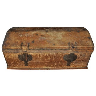 Large Hide Covered Trunk For Sale