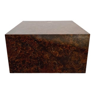 1970s Mid-Century Modern Faux Stone Cube Coffee Table For Sale