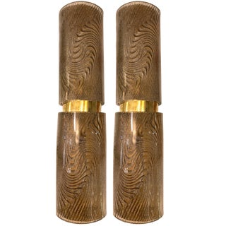 Modern Italian Smoked Frosted Murano Glass and Brass Wall / Ceiling Lights - a Pair For Sale