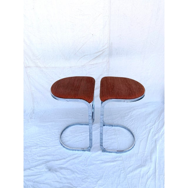 Orange Cantilevered Baughman-Style Bar Stools - a Pair For Sale - Image 8 of 8