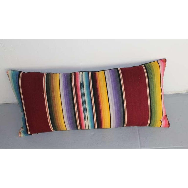 Mexican Colorful Serape Bolster Pillow For Sale - Image 4 of 4