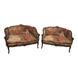 Antique Tapestry Settees - a Pair For Sale