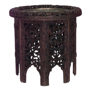 Asian Burmese Style Filigree Rosewood Octagonal Folding Base End Table For Sale