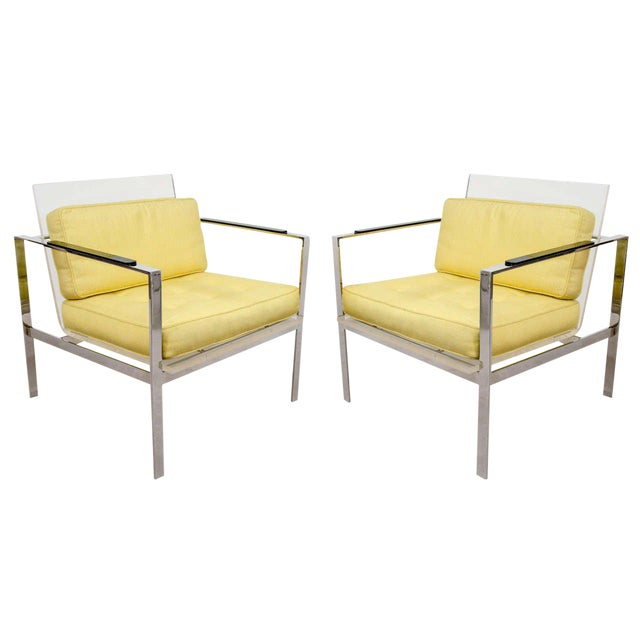 Rare Pair of Modernist Lucite And Nickeled Bronze Chairs by Laverne For Sale