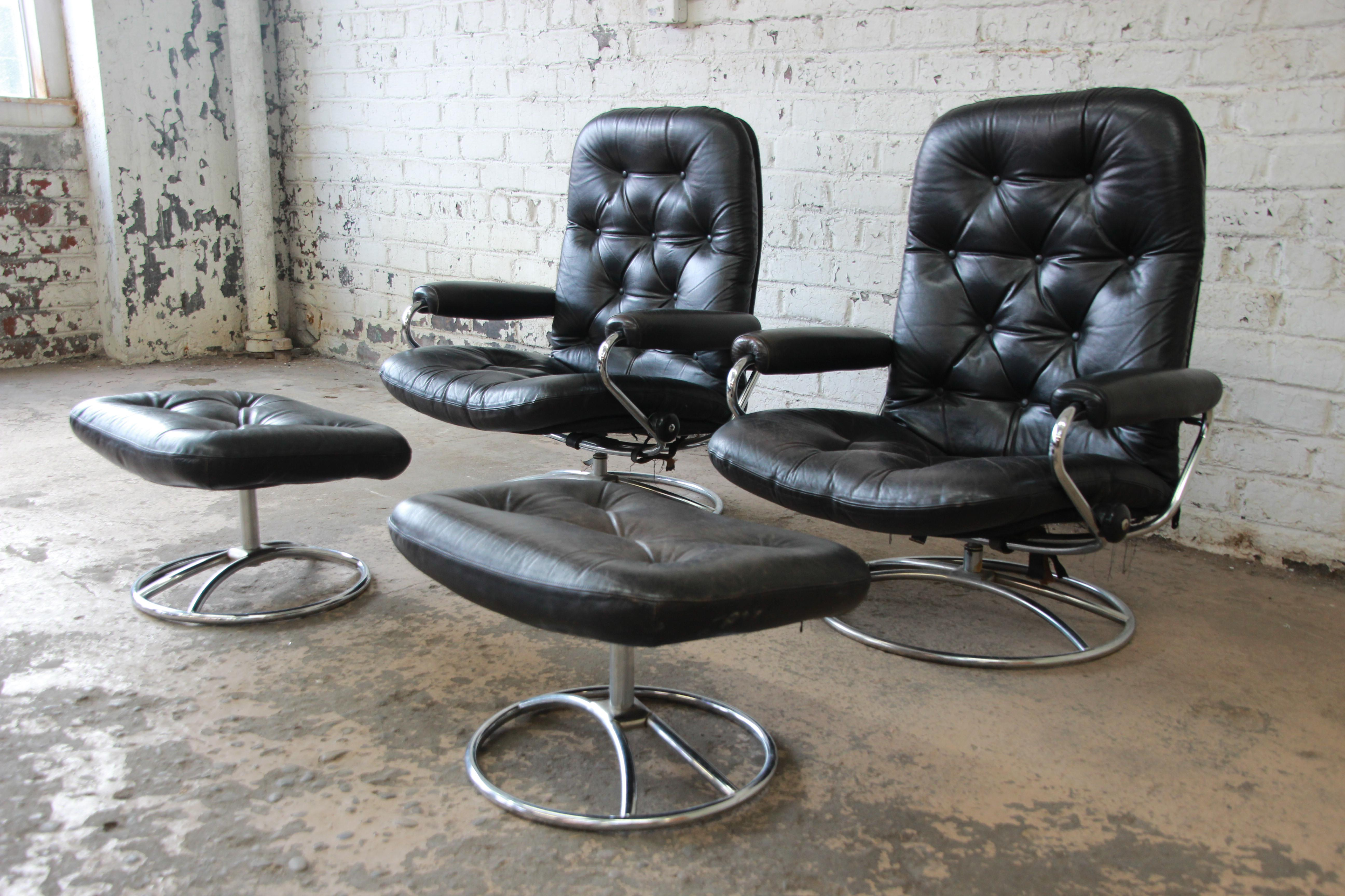 Vintage Black Leather Ekornes Stressless Lounge Chairs U0026 Ottomans   A Pair    Image 3 Of