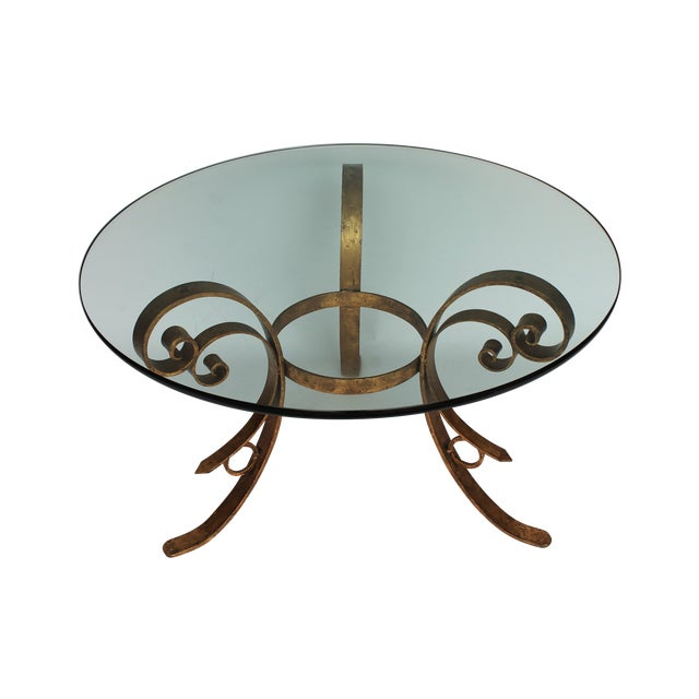 Gilded Scrolled & Glass Dining Table For Sale