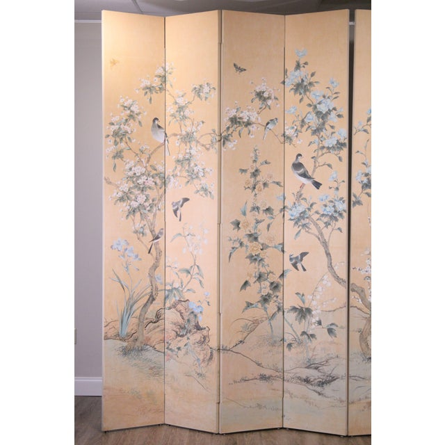 1950s Monumental Oriental 2 Piece 8 Panel Hand Painted Folding Screen Room Divider For Sale - Image 5 of 13