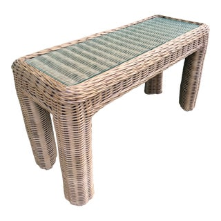 Vintage Large Braid Wicker Console Table For Sale