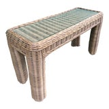 Image of VintageBraid Wicker Console Table For Sale