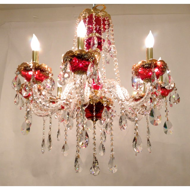 Red Crystal Chandelier - Image 2 of 8