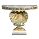 Image of Hollywood Regency Style Shell Console Half Moon Antiqued Glass Top Mirror Base For Sale