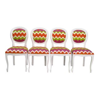 Italian Beechwood Cameo Back in White Lacquer & Colorful Upholstery, Set of 4 For Sale