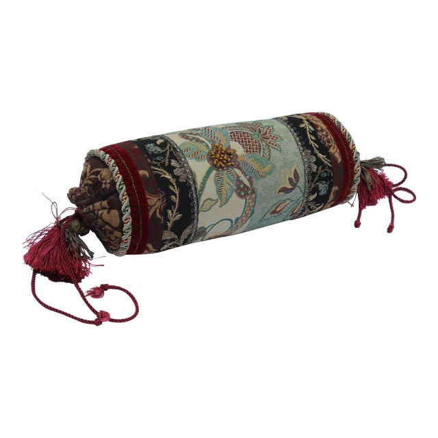 Contemporary Multicolored Floral Tapestry Bolster With Tassles and Cords For Sale