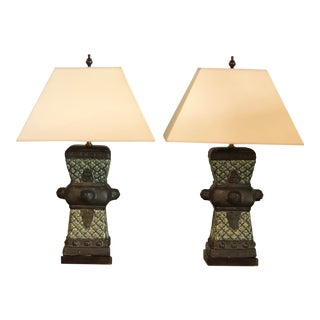 20th Century Primitive Dark Green Ceramic Vases Made Into Table Lamps - a Pair