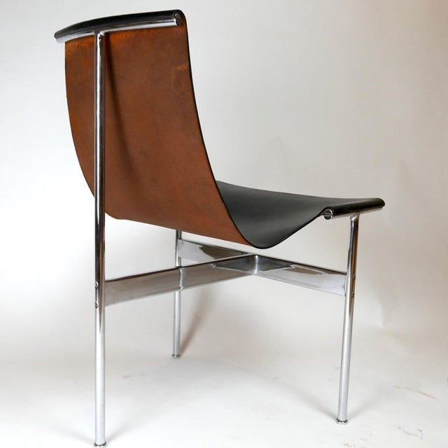 Fantastic pair of excellent vintage 1960s T-chairs in black leather with chrome frames. William Katavolos in collaboration...