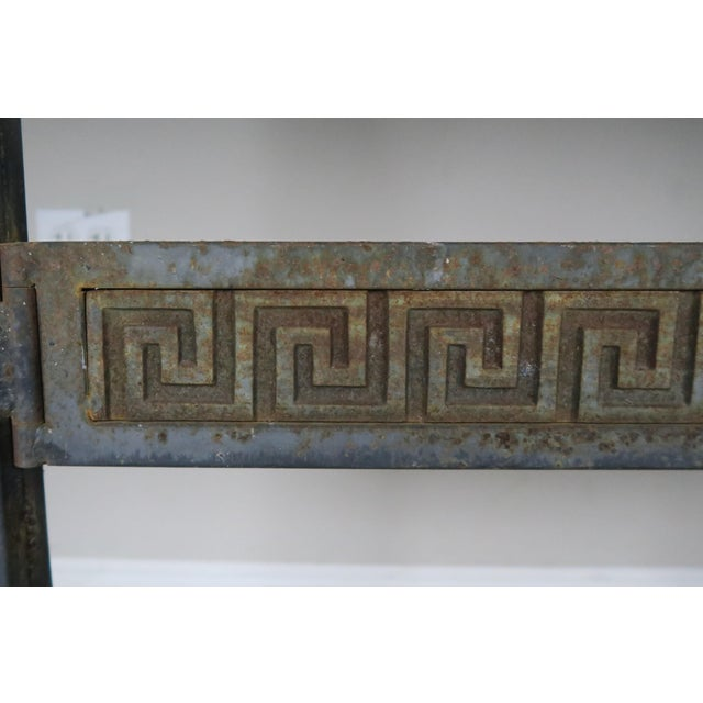 Black Greek Key Iron and Marble Bistro Table, Circa 1940 For Sale - Image 8 of 10