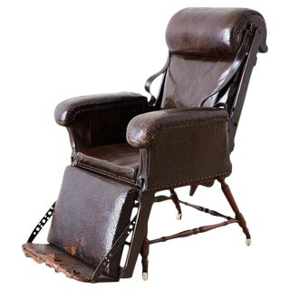 19th Century French Napoleon III Leather Reclining Armchair For Sale