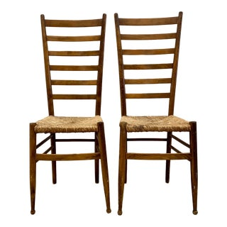 Pair of Vintage Wood Ladder Back Chairs in the Style of Gio Ponti For Sale