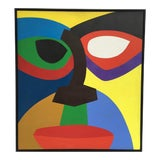 Image of 1970 Abstract Geometric Face Acrylic Painting For Sale