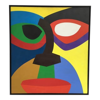 1970 Abstract Geometric Face Acrylic Painting For Sale