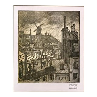 1890s Vintage Montmartre Cityscape (Matted) by Eugene Bejot For Sale