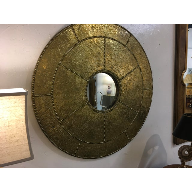 Metal Sarreid Hammered Brass Mirror For Sale - Image 7 of 10