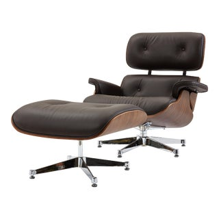 Pasargad's Florence Brown Leather Lounge Chair & Ottoman For Sale
