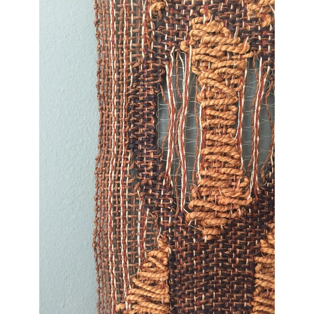 Mod Biomorphic Woven Fiber Art Wall Hanging For Sale - Image 4 of 4