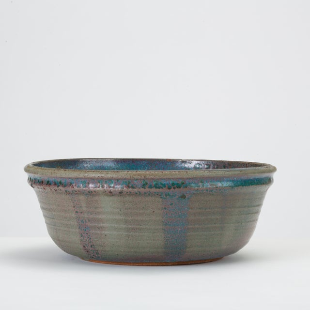 Mid-Century Modern Blue Studio Pottery Serving Bowl For Sale - Image 3 of 12