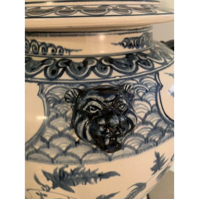 Asian Antique Theodore Alexander Ming Design White Ginger Jar on Wood Base For Sale - Image 3 of 11