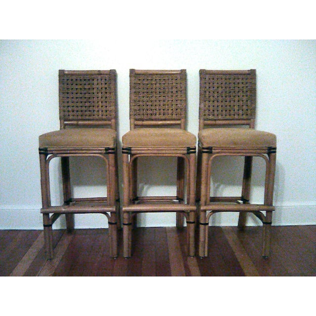 Palecek Bamboo, Leather and Jute Barstools- Set of 3 For Sale - Image 9 of 9
