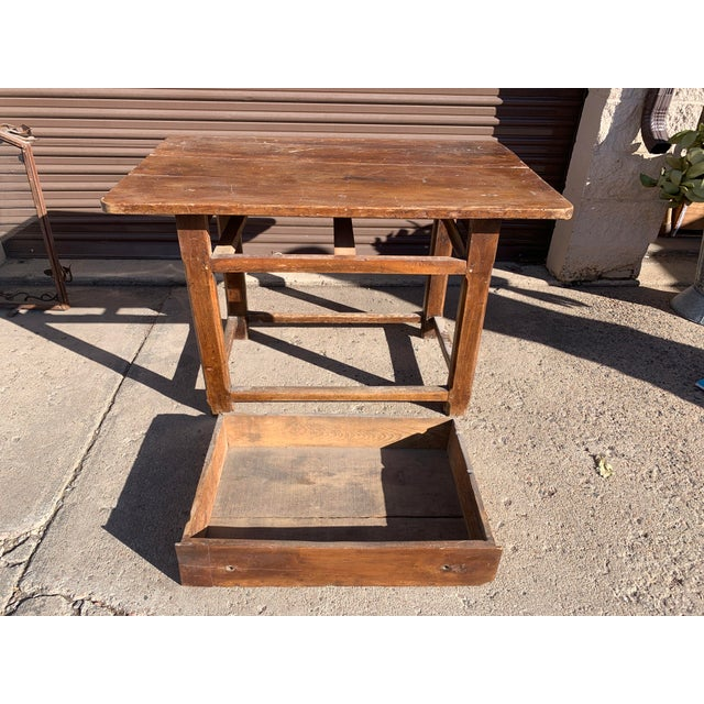 Wood Rustic French Fruitwood Table With Stretchers For Sale - Image 7 of 13